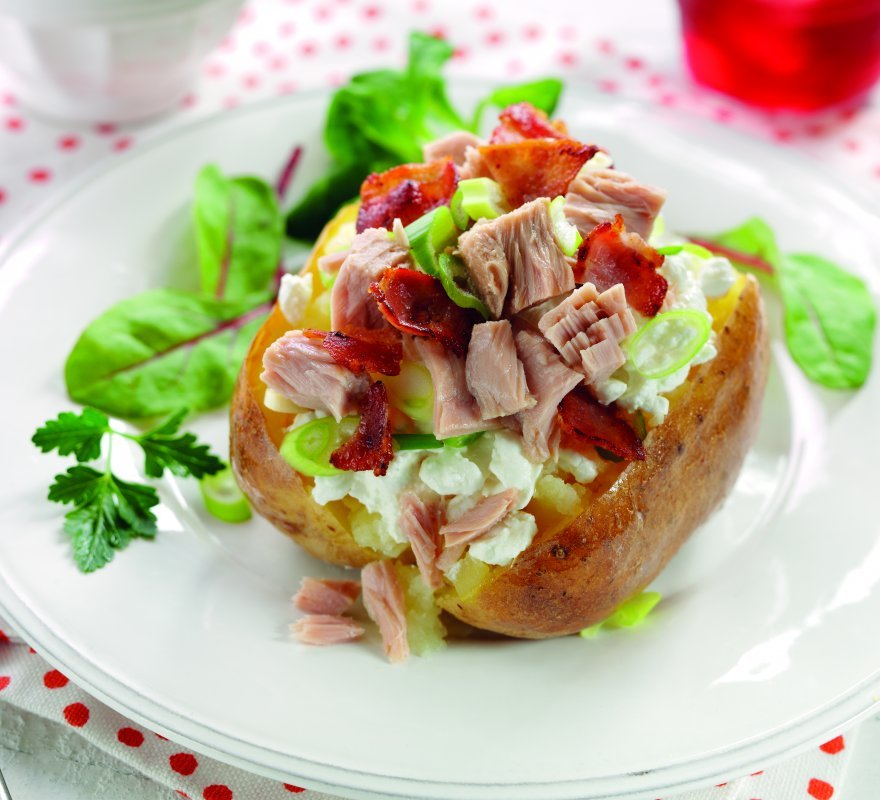 Super Baked Potatoes With Tuna Cottage Cheese And Crispy Bacon Download Free Architecture Designs Scobabritishbridgeorg